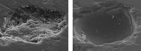 Porzellan - unbehandelte Mikropore | Porzellan - behandelte Mikropore